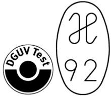 Vysokopevnostní místa uchycení splňují požadavky směrnice ostrojních zařízeních 2006/42/ES pro bezpečné zvedání břemen i přísné požadavky předpisů DGUV (razítko H odborové profesní organizace)