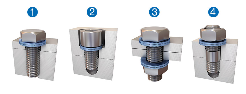 Installation examples – Nord-Lock wedge-locking washers can be used with screws of all property classes.