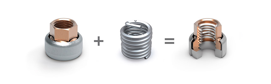 Base and washer + HELICOIL® Screwlock = HELICOIL® locknut  collar nut version with washer