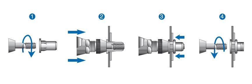 Postup montáže nýtovací matice nebo nýtovacího šroubu RIVKLE® na příkladu zdvihu vřetena