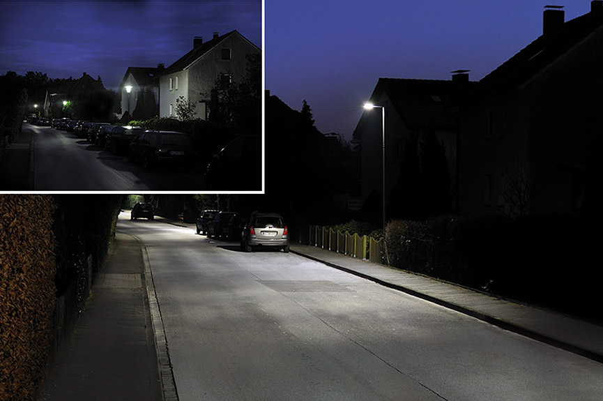 Lighting situation before and after conversion to WE-EF VFL540 LED street lights & WE-EF and Böllhoff light up Bielefeld | Böllhoff azcodes.com