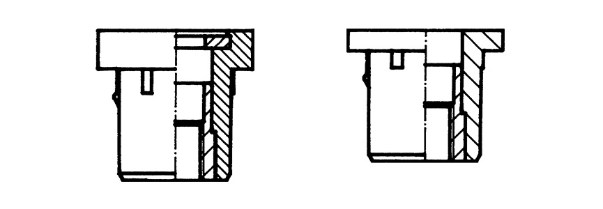 RIVNUT® AV – Technical drawing of standard version with washer (left) and standard version without washer (right)