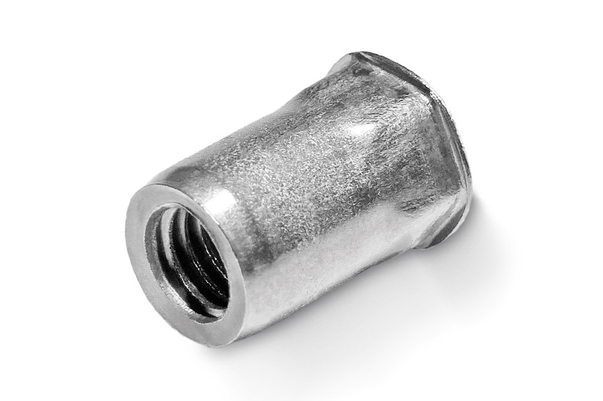RIVNUT® blind rivet nut made of stainless steel as semi-hexagonal with a small countersunk head