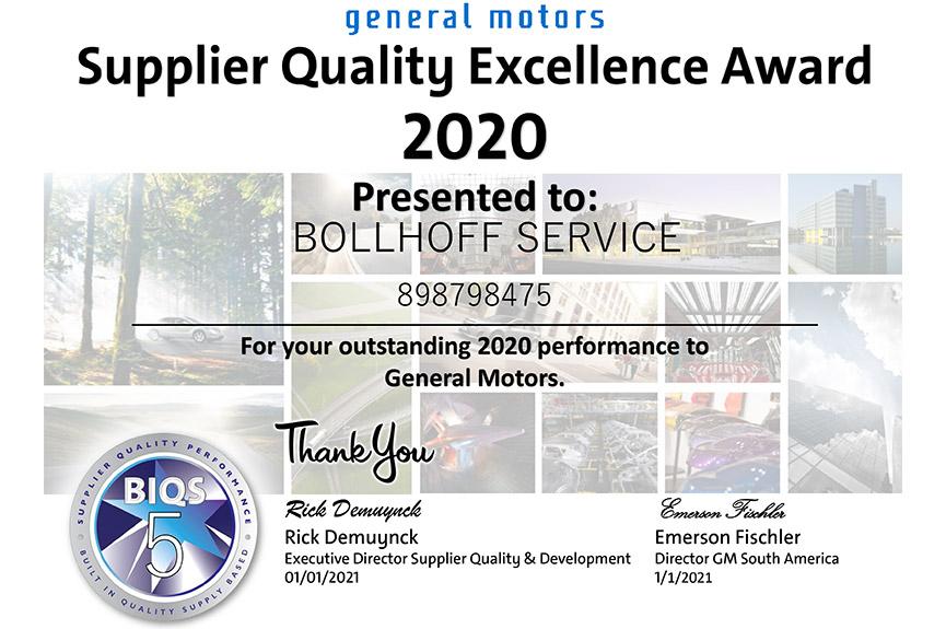 Böllhoff é reconhecida em mais uma edição do Prêmio de Excelência de Qualidade da GM