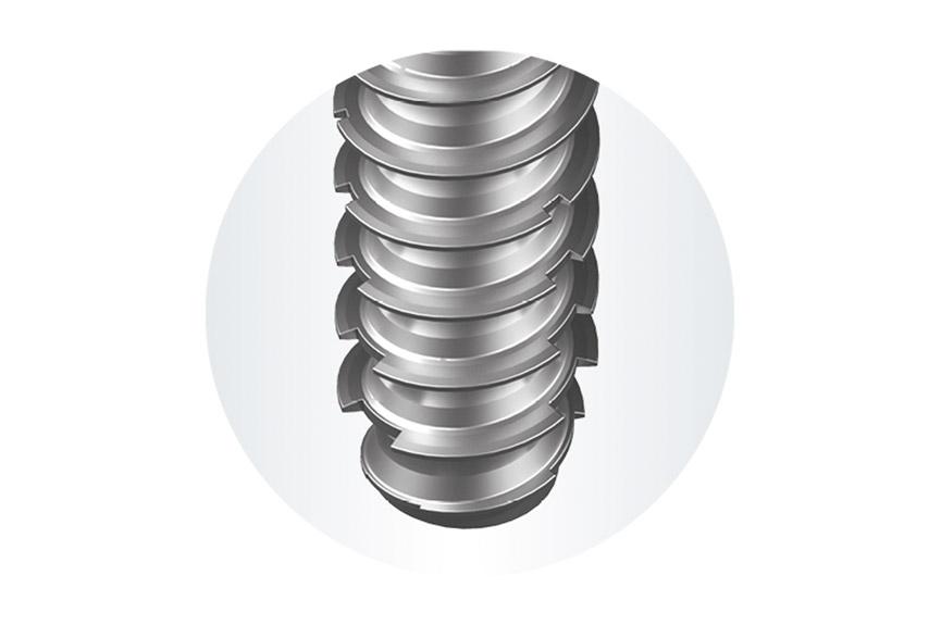 Modifizierte Gewindeflanken der EJOT DELTA PT® DS Schraube