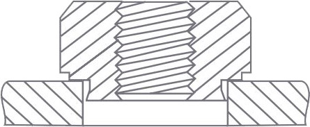 La tuerca insertable se coloca en el alojamiento