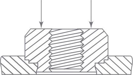 La fuerza de colocación debe aplicarse en la cabeza del elemento de fijación, en eje con la chapa y de forma constante.