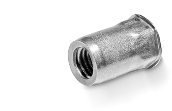 RIVKLE® blind rivet nut made of stainless steel as semi-hexagonal version with a small countersunk head